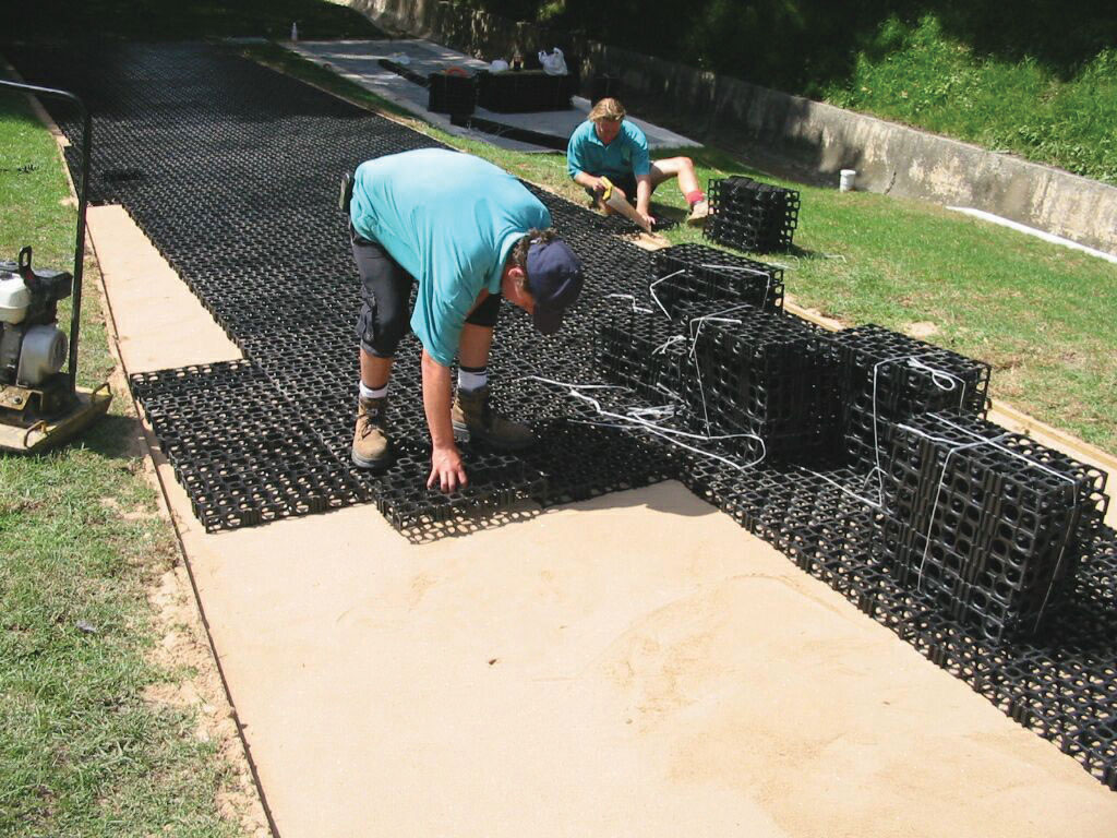 Atlantis Turf Cell® installation for stormwater access road application.