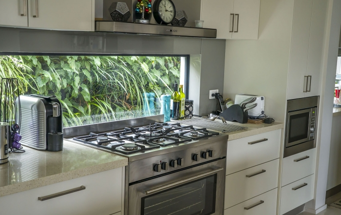 Kitchen window gets greenwall vertical garden  outlook with Atlantis Gro-Wall® 4.5