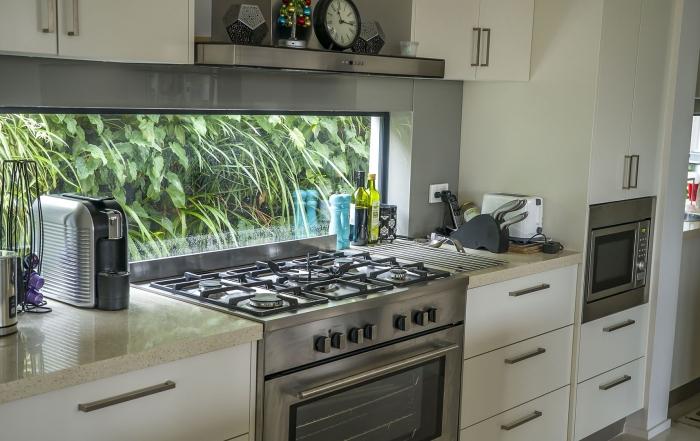 Kitchen window gets greenwall vertical garden  outlook with Atlantis Gro-Wall® 4.5